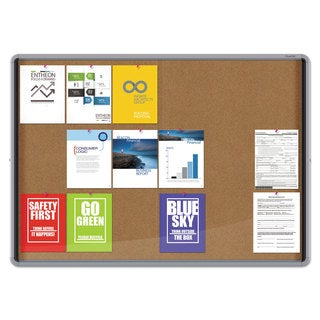 Quartet Enclosed Indoor Cork Bulletin Board with Sliding Glass Doors, 56 x 39, Silver Frame