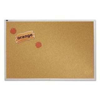 Quartet Natural Cork Bulletin Board Anodized Aluminum Frame