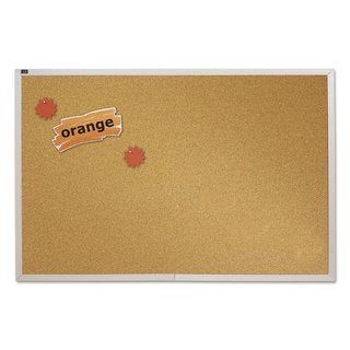 Quartet Natural Cork Bulletin Board Anodized Aluminum Frame