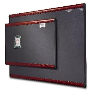 Quartet Prestige Bulletin Board, Diamond Mesh Fabric, 72 x 48, Grey/Mahogany Frame