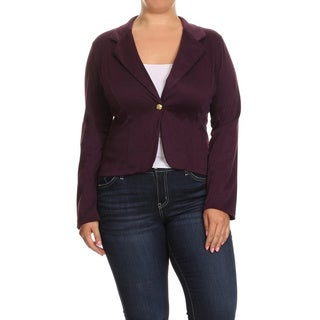 Women's Solid Plus-size Blazer Jacket