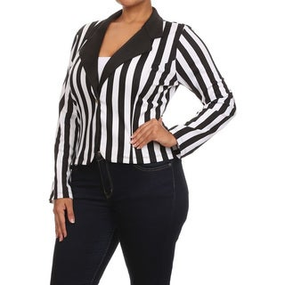 Women's Black/White Polyester and Spandex Plus-size Striped Notch Collar Blazer Jacket