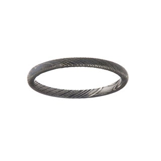 Men's 2mm Woodgrain Texture Damascus Steel Ring