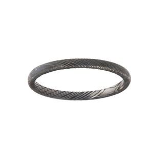 Men's 2mm Woodgrain Texture Damascus Steel Ring