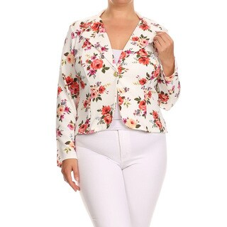 Women's Polyester and Spandex Plus Size Floral Blazer Jacket (More options available)