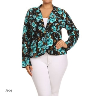 Women's Polyester and Spandex Plus Size Floral Blazer Jacket