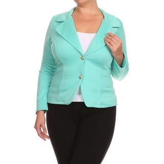 Women's Polyester and Spandex Plus Size Solid Blazer-style Jacket