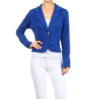 Women's Royal Blue Rayon and Spandex Blazer Jacket