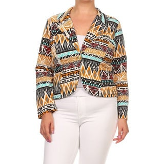 Women's Multicolored Tribal Polyester and Spandex Plus-size Blazer Jacket