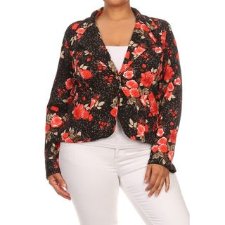 Women's Multicolored Floral Polyester and Spandex Plus-size Blazer-style Jacket
