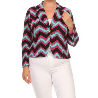 Women's Multicolored Polyester and Spandex Plus Size Chevron Striped Blazer Jacket