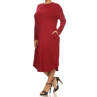 Women's Red Polyester and Spandex Plus Size Long Dress