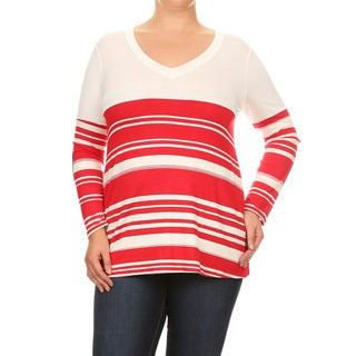 Women's Multicolor Rayon and Spandex Plus-size Striped V-neck Top