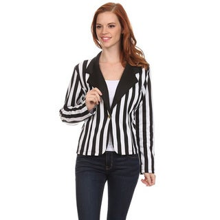 Women's Black Polyester and Spandex Vertical Striped Blazer Jacket