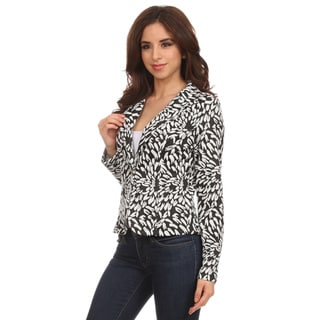 Women's Black Polyester and Spandex Textured Pattern Blazer-style Jacket