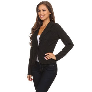 Women's Black Polyester and Spandex Checkered Plaid Blazer