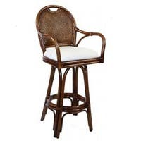 Classic Indoor Swivel TC Antique FInish Rattan and Wicker 24-inch Counter Stool With Cushion