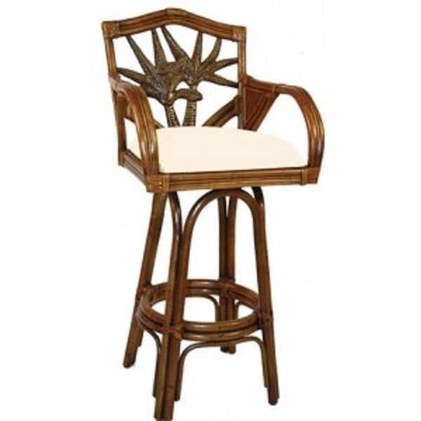 shop cancun palm brown rattan wicker 24 inch indoor swivel counter stool free shipping today. Black Bedroom Furniture Sets. Home Design Ideas