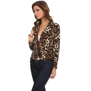 Women's Brown Polyester and Spandex Animal Pattern Blazer-style Jacket