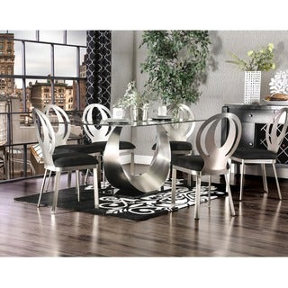 Furniture of America Heer Modern Black Steel 7-piece Dining Set