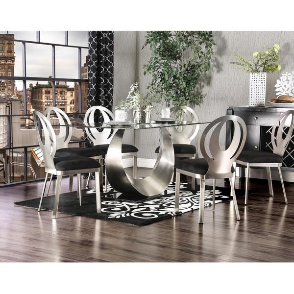 Furniture of America Heer Modern Black Steel 7-piece Dining Set. Opens flyout.