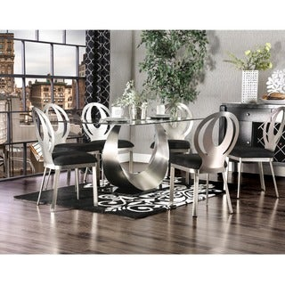 Furniture Of America Serenia Contemporary 7 Piece Satin Metal Dining Set