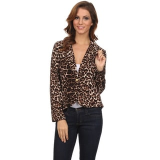 Women's Brown Animal Print Blazer-style Jacket