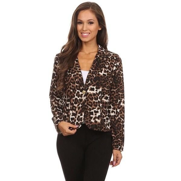 Women's Brown Animal Print Blazer-style Jacket