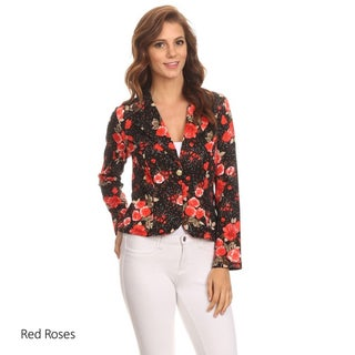 Women's Multicolored Polyester and Spandex Textured Floral Blazer Jacket (4 options available)