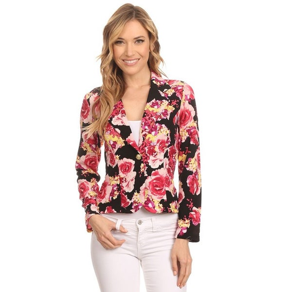 Women's Multicolored Polyester and Spandex Textured Floral Blazer Jacket