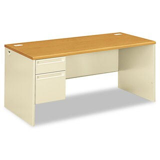 HON 38000 Series Left Pedestal Desk, 66w x 30d x 29-1/2h, Harvest/Putty