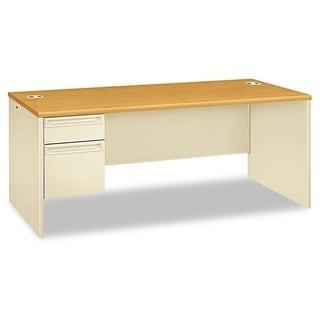HON 38000 Series Left Pedestal Desk, 72w x 36d x 29-1/2h, Harvest/Putty