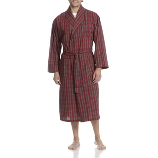 Hanes Men's Red Plaid Woven Robe