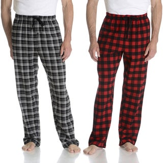 Hanes Men's Red/Black Cotton Flannel Lounge Pants (Set of 2)