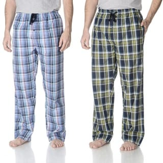 Hanes Men's 2-pack Blue, Green Plaid Cotton, Polyester Woven Lounge Pants