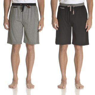 Ecko Unlimited Men's Black and Charcoal Cotton Knit Sleep Shorts (Set of 2)