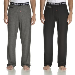 Ecko Unlimited Men's Black and Charcoal Heather Cotton Knit Pant with Media Pocket (Set of 2)