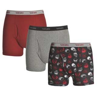 Ecko Unlimited Men's Skulls/Heather Grey/Red Cotton Boxer Briefs (3 Pack)
