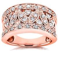 Annello by Kobelli 14k Rose Gold 1/2ct TDW Diamond Floral Wide Anniversary Ring