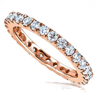 Annello by Kobelli 14k Rose Gold 1ct TDW Round Diamond Prong-set Eternity Ring