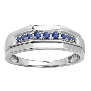 Sterling Silver Men's 1/4ct TW Round Blue Sapphire Men's Wedding Anniversary Band (I1-I2)