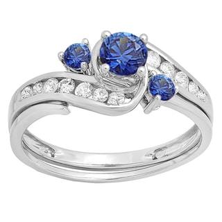 10k White Gold 7/8ct TW Round Blue Sapphire and Diamond Bridal Ring Set (I-J, I1-I2)