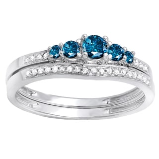 14k White Gold 3/8ct TDW Blue and White Diamond 5-stone Bridal Set (H-I, I2-I3)