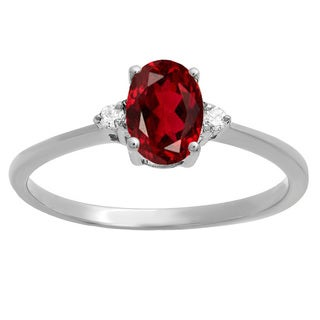 10k Gold 3/4ct TW Oval-cut Garnet and Round Diamond Promise Engagement Ring (I-J, I2-I3)