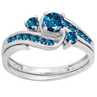 14k White Gold 7/8ct TDW Round Blue Diamond Swirl Bridal Engagement Ring Set