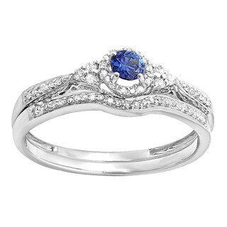 14k White Gold 1/3ct TW Round Blue Sapphire and White Diamond Bridal Ring Set (H-I, I1-I2)