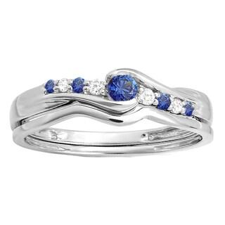18k White Gold 1/4ct TW Round Blue Sapphire and White Diamond Bridal Ring Set (I-J, I2-I3)