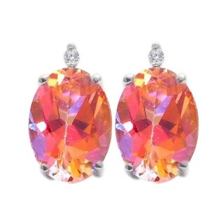 Sterling Silver 1.15ct. Oval Ecstasy Topaz and White Diamond Earring (H-I, I2-I3)
