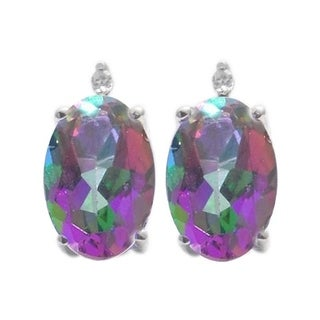 Sterling Silver 1 1/6ct Oval Mystic Topaz and White Diamond Earring (H-I, I2-I3)
