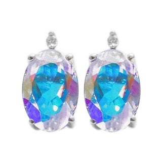 Sterling Silver 1.15ct. Oval Opal Topaz and White Diamond Earring (H-I, I2-I3)